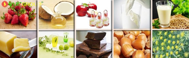 Hương liệu các loại: hương cafe, hương vani, hương đậu nành...